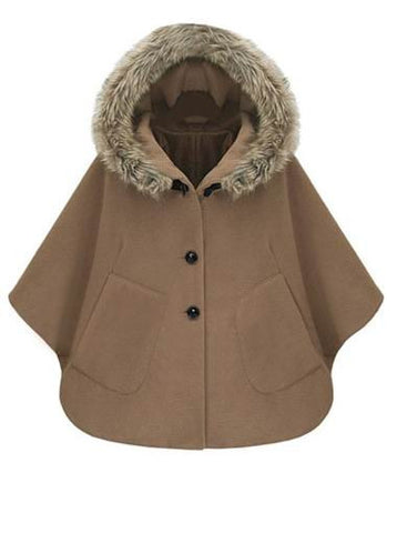 Single-breasted Fitted Hat Camel Cape