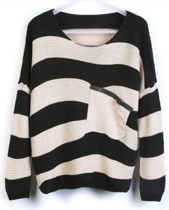 Black Stripes Loose Sweater with Pocket