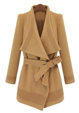 Camel Long Sleeve Drawstring Waist Asymmetrical Coat