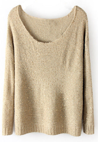 Beige Long Sleeve Sequined Loose Pullovers Sweater