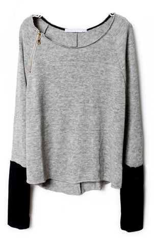 Light Grey Zippered Curved Hem Jumper