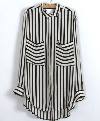 Black Beige Vertical Stripe Pockets Chiffon Blouse