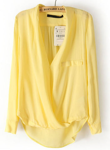 Yellow Long Sleeve Front Cross Dipped Hem Blouse
