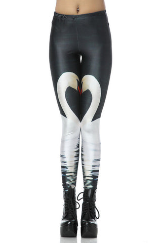 Black Elastic Swan Print Leggings