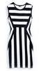 Black White Striped Round Neck Sleeveless Dress