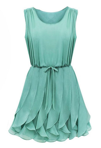 Green Sleeveless Ruffles Pleated Chiffon Dress