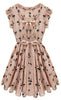 Pink Sleeveless Belt Deer Print Chiffon Dress