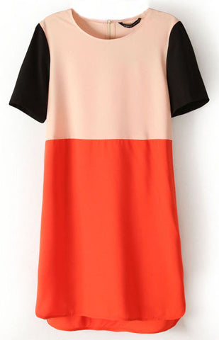 Apricot Red Contrast Short Sleeve Split Dress