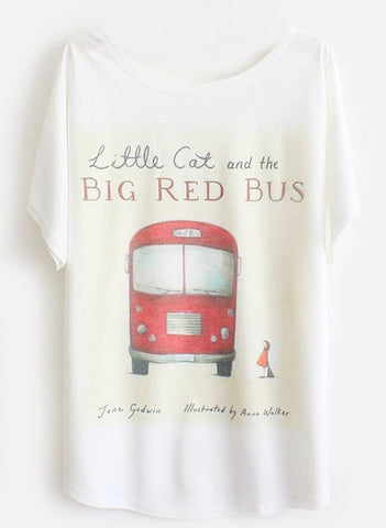 White Batwing Short Sleeve Red Bus Print T-Shirt