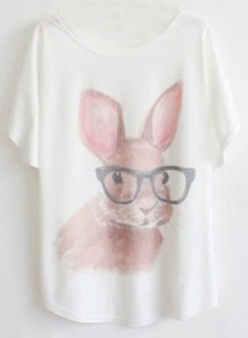 White Short Sleeve Glasses Rabbit Print T-Shirt