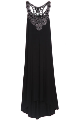 Black Sleeveless Rhinestone Hollow High Low Dress