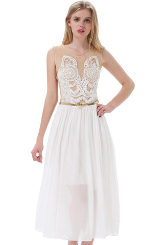White Sleeveless Embroidery Contrast Chiffon Tank Dress