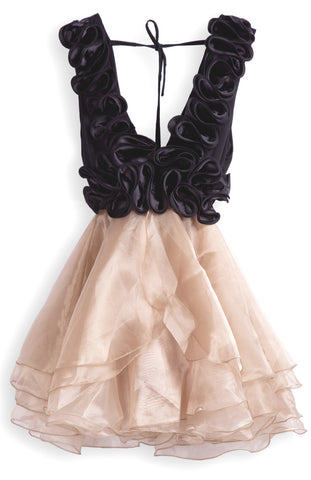 Champagne V Neck Cascading Ruffle Flare Organza Dress