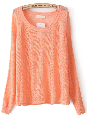 Orange Long Sleeve Hollow Pullover Sweater