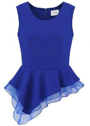 Blue Sleeveless Zipper Asymmetrical Ruffles Blouse