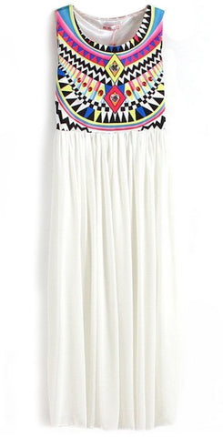 White Sleeveless Geometric Tribal Print Chiffon Dress
