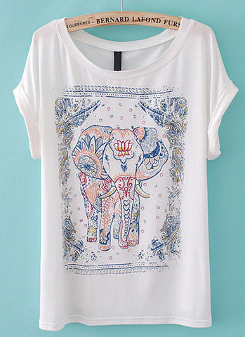White Short Sleeve Cartoon Elephant Print T-Shirt