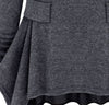 Dark Grey Long Sleeve Ruffles Pockets Dress