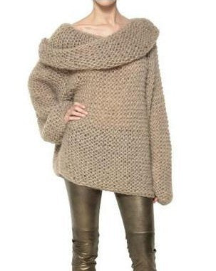 Camel Off the Shoulder Long Sleeve Chunky Sweater