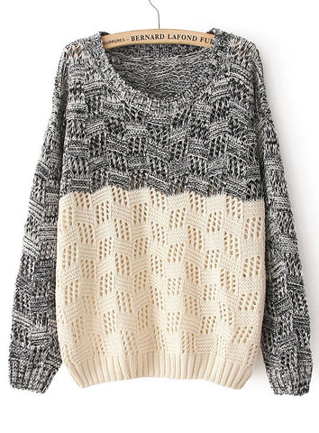 Black Beige Long Sleeve Geo Pattern Sweater