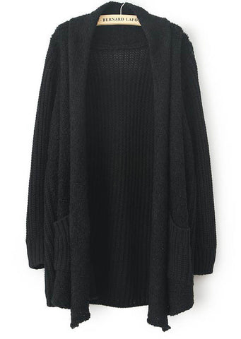 Black Long Sleeve Pockets Loose Cardigan Sweater