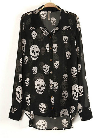 Black Long Sleeve Skull Print Sheer Blouse