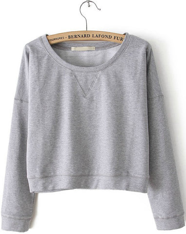 Grey Round Neck Long Sleeve Crop Sweatshirt