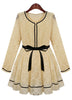 Apricot Long Sleeve Contrast Trims Belt Lace Dress