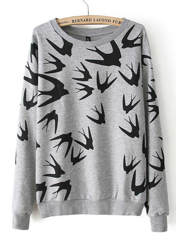 Grey Long Sleeve Swallow Print Loose Sweatshirt