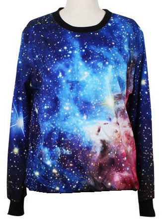 Blue Round Neck Long Sleeve Galaxy Print Sweatshirt