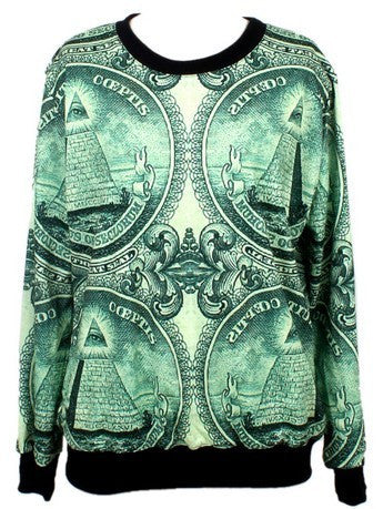 Green Long Sleeve U.S. Dollar Print Sweatshirt