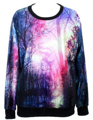 Purple Long Sleeve Forest Print Loose Sweatshirt