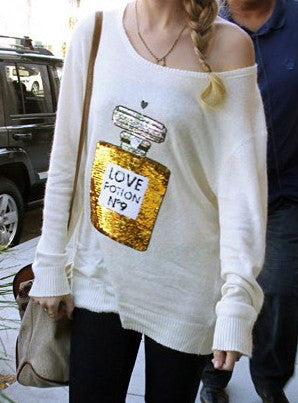 White Long Sleeve Wildfox No 9 Perfume Sequined Sweater