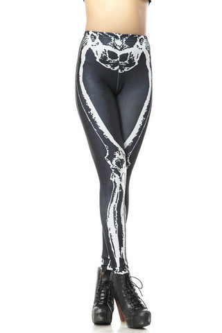 Black Skinny Skeleton Print Elastic Leggings