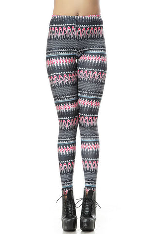 Black Skinny Geometric Striped Elastic Leggings