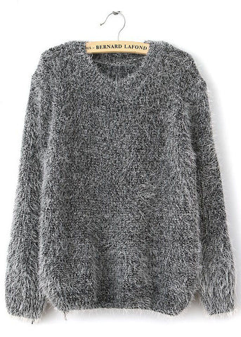 Grey Long Sleeve Shaggy Mohair Loose Sweater