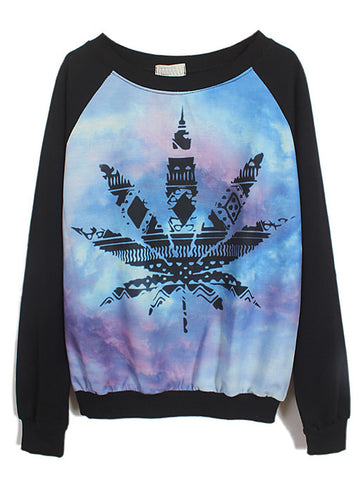 Black Long Sleeve Galaxy Maple Leaf Print Sweatshirt