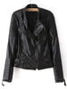 Black Long Sleeve Zipper PU Leather Jacket