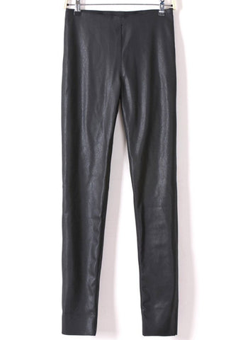 Black Side Zipper PU Leather Skinny Pants