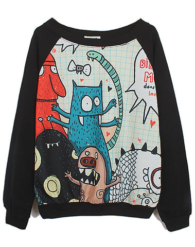 Black Long Sleeve Cartoon Monster Print Sweatshirt