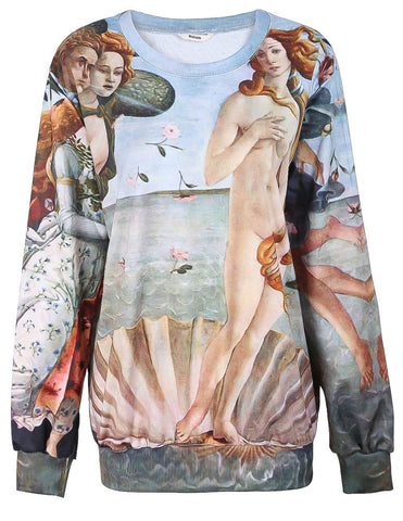 Green Painting The Birth of Venus Print Sweatshirt