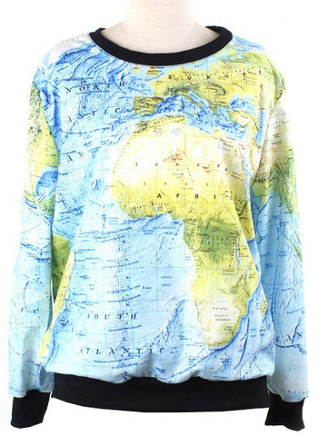 Blue Green Long Sleeve World Map Print Sweatshirt