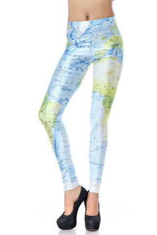 Blue Green Skinny World Map Print Leggings