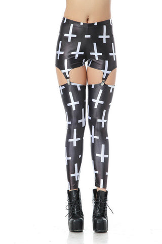 Black Skinny Cross Print Clip Leggings