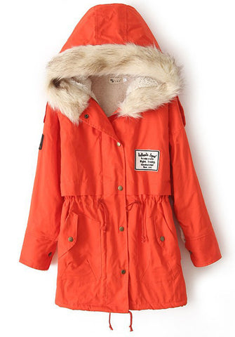 Orange Fur Hooded Zipper Embellished Fleece Inside Military Coat