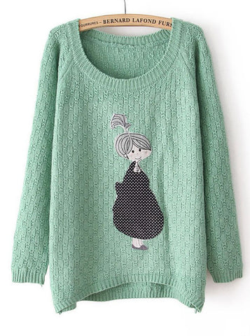 Green Long Sleeve Girl Pattern Asymmetrical Sweater