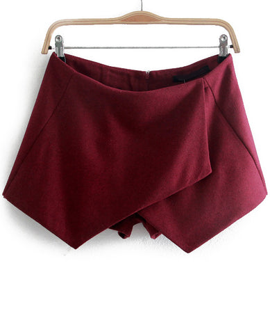 Wine Red Asymmetrical Slim Woolen Shorts