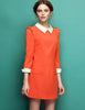 Orange Contrast Lapel Long Sleeve Slim Dress