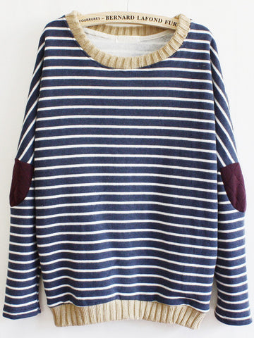 Blue Long Sleeve Striped Elbow Patch Sweatshirt