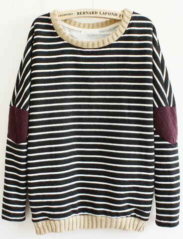 Black Long Sleeve Striped Elbow Patch Sweatshirt